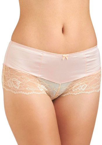Like a Lady Undies - Pink, Tan / Cream, Solid, Bows, Lace, Sheer, Vintage Inspired