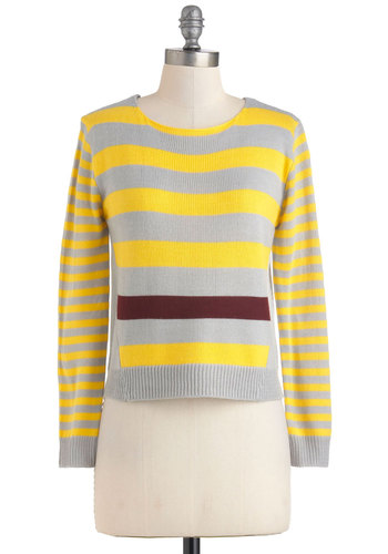 Peeks of Sun Sweater - Grey, Yellow, Stripes, Knitted, Long Sleeve, Short, Casual, Scholastic/Collegiate