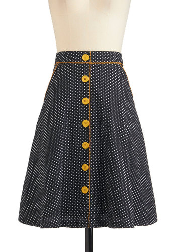 Dots the Way I Like It Skirt - Cotton, Mid-length, Yellow, Polka Dots, Pockets, A-line, Black, White, Buttons, Casual, Vintage Inspired, 60s, Fit & Flare