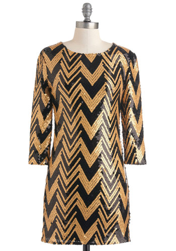 Gold Lang Syne Dress - Short, Gold, Black, Print, Sequins, Party, Shift, Long Sleeve, Luxe, Statement, Holiday Party