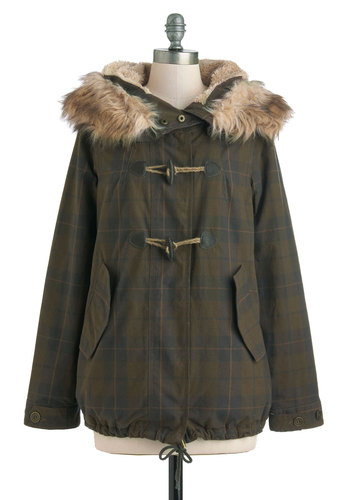 Metropolitan Wilderness Jacket - Cotton, Plaid, Buttons, Pockets, Long Sleeve, 3, Green, Brown, Casual, Winter, Mid-length, Rustic, Faux Fur