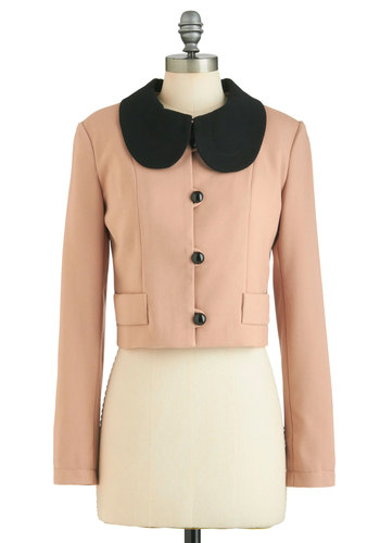 Peach a Lesson Jacket - Jersey, Pink, Black, Buttons, Peter Pan Collar, Party, Long Sleeve, 1, Work, Vintage Inspired, Short, Pastel