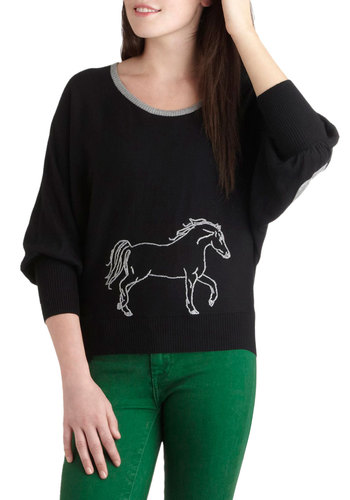 Trot of You Today Sweater by Knitted Dove - Mid-length, Black, Grey, Patch, Print with Animals, Casual, Rustic, Fall, Winter