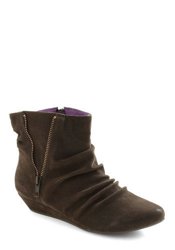 A Hop, Zip, and A Jump Bootie - Brown, Solid, Exposed zipper, Casual, Fall, Low, Wedge, Faux Leather