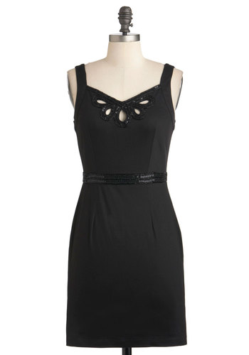 Butterfly by Night Dress by Yumi - Cotton, Short, Black, Solid, Beads, Sequins, Cocktail, Shift, Spaghetti Straps, Party, Cutout