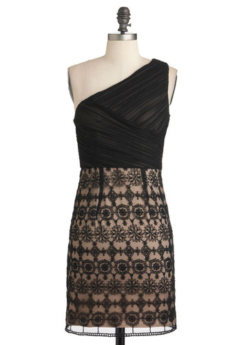 Sense of One-der Dress - Mid-length, Tan / Cream, Black, Lace, Formal, Film Noir, Sheath / Shift, One Shoulder, Ruching, Cocktail, Holiday Party