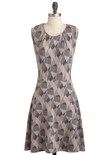 Come A-Wave With Me Dress - Mid-length, Grey, Print, Casual, Sleeveless, Jersey, International Designer, A-line