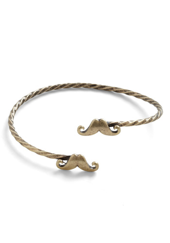 Mustache Sally Bracelet - Gold, Casual, Quirky, Menswear Inspired, Nautical, Novelty Print, Gold