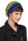 Thrills and Valleys Hat in Violet - Multi, Yellow, Green, Blue, Purple, Print, Knitted, Winter, Holiday Sale