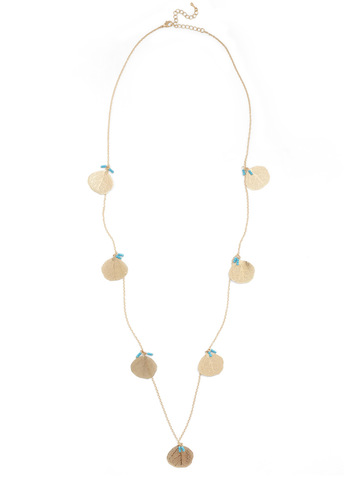 Best Fronds Necklace - Gold, Blue, Casual, Statement