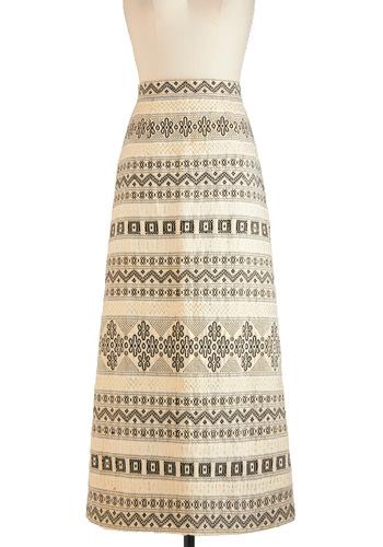 Vintage Where Chalet We Eat? Skirt - Multi, Tan / Cream, Black, White, Gold, Print, Maxi, Long