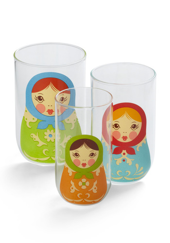 Glassy Ladies Set by Fred - Multi, Quirky, Print, Folk Art