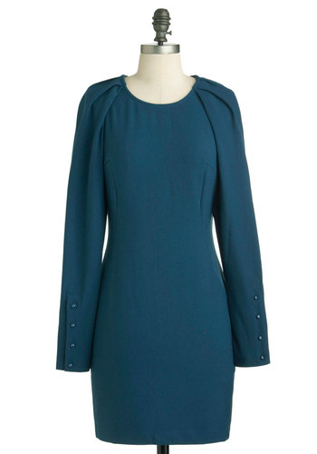 Evening Equinox Dress - Short, Blue, Solid, Buttons, Work, Shift, Long Sleeve, Fall