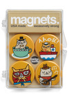 Cats of Characters Magnets - Multi, Print with Animals, Dorm Decor, Cats, Good