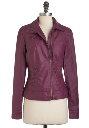 Juice Bar None Jacket in Berry - Purple, Solid, Pockets, Long Sleeve, Faux Leather, Short, 2, Fall