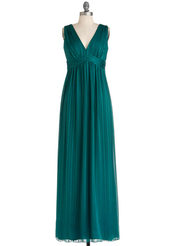 Draped in Drama Dress by Max and Cleo - Green, Solid, Empire, Sleeveless, Special Occasion, Long, V Neck, Maxi, Prom, Wedding, Bridesmaid