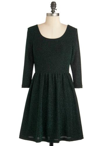 Vermillion Dollar Woman Dress - Short, Green, Party, 90s, A-line, Long Sleeve, Winter, Backless, Glitter