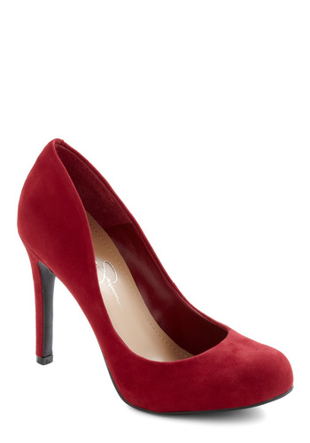 Wishing and Hoping Heel in Crimson - High, Leather, Suede, Red, Solid, Formal, Prom, Party, Work, Cocktail, Pinup, Holiday Party, Variation