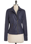 Juice Bar None Jacket in Acai - Blue, Solid, Pockets, Long Sleeve, Faux Leather, Short, 2