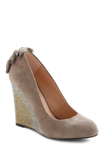 Betsey Johnson The Way It Discos Wedge by Betsey Johnson - High, Tan, Bows, Rhinestones, Wedge, Luxe, Party, Glitter, Cocktail, Girls Night Out, Holiday Party, Leather, Suede, Formal