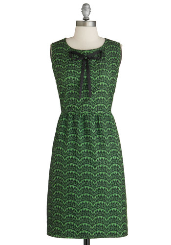 Break Into a Scallop Dress by Tulle Clothing - Mid-length, Green, Black, Print, Bows, Sleeveless, Lace, Scallops, Party, Sheath / Shift, Cocktail, Holiday Party, Work