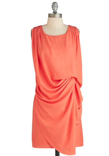 Sample 2297 - Orange, Solid, Party, Sheath / Shift, Sleeveless