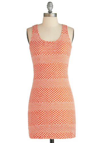Sample 2303 - Orange, White, Backless, Cutout, Bodycon / Bandage, Tank top (2 thick straps)