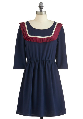 Quick Study Dress by Miss Patina - Mid-length, Blue, Red, White, Casual, 3/4 Sleeve, Fall, A-line, Vintage Inspired