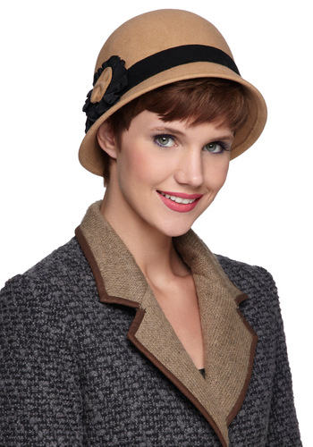 Cloche Encounter - Tan, Black, Solid, Flower, Vintage Inspired, 20s, Winter