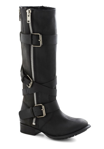 Balance of Powerful Boot by Dolce Vita - Low, Leather, Black, Solid, Buckles, Exposed zipper, Casual, Urban