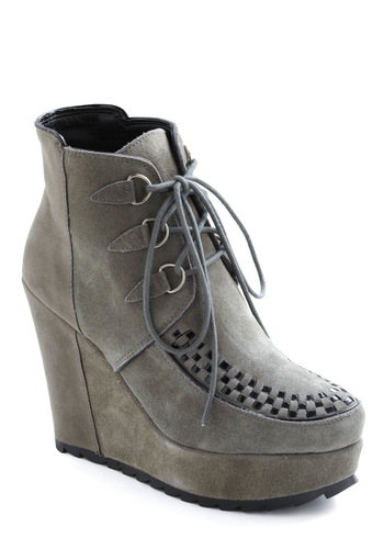 Storm Cloud Wedge - High, Leather, Suede, Grey, Platform, Wedge, Lace Up, Woven, Casual, Fall