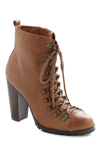 Show Me the Ropes Boot - Leather, Brown, High, Lace Up, Casual, Rustic, Steampunk, Fall, Holiday Sale