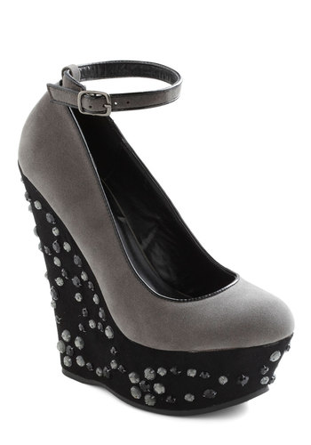 Misty Meets Fabulous Wedge - Grey, Black, Sequins, High, Platform, Wedge, Party, Girls Night Out, Statement, Holiday Party, Glitter, Faux Leather, Special Occasion