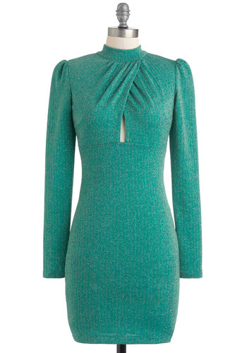 The Voice Is Yours Dress - Green, Solid, Glitter, Party, Cocktail, 70s, Bodycon / Bandage, Long Sleeve, Mid-length, Girls Night Out