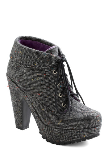Tweed As Can Be Boots - Grey, High, Platform, Lace Up, Multi, Winter