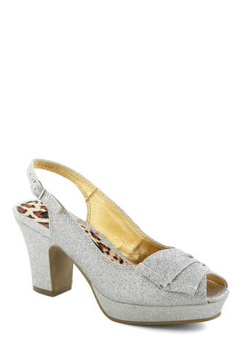 Synchronized Shimmer Heel by Bait Footwear - Mid, Silver, Glitter, Ruching, Peep Toe, Slingback, Prom, Wedding, Party, Luxe, Cocktail, Girls Night Out, Holiday Party, Platform