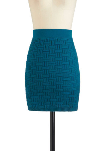 Weave Been There Skirt - Blue, Black, Knitted, Cotton, Short, Party, Girls Night Out, Urban, Bodycon / Bandage