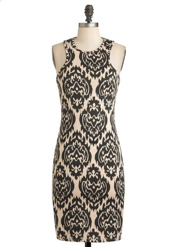 Stylish to the Decor Dress - Mid-length, Tan / Cream, Print, Exposed zipper, Party, Cocktail, French / Victorian, Bodycon / Bandage, Sleeveless, Fall, Black