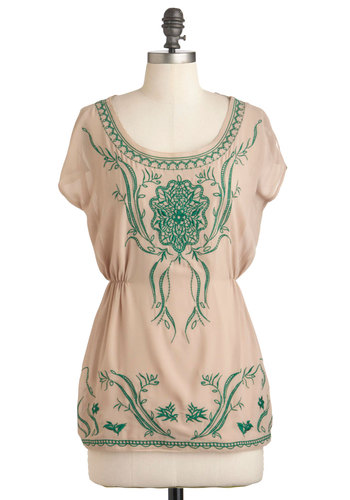 Seek and Vine Top - Tan, Green, Floral, Embroidery, Boho, Short Sleeves, Spring, Mid-length
