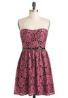 Simply Cherished Dress - Pink, Black, Floral, Belted, Party, A-line, Strapless, Lace, Cocktail, Mid-length, Sweetheart