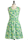 Let's Get Directional Dress - Mid-length, Cotton, Green, White, Novelty Print, Pockets, Casual, Travel, A-line, Sleeveless, Fit & Flare, Quirky, Crew