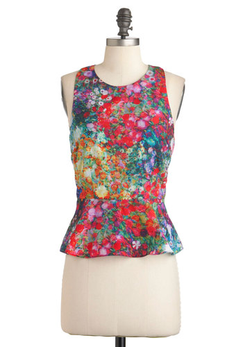 Let Down Your Garden Top - Multi, Floral, Racerback, Peplum, Short, Summer