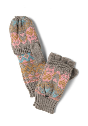 The Great Owl-tdoors Convertible Gloves - Grey, Multi, Solid, Winter, Knitted, Casual