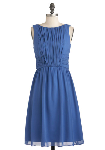 Swept Off Your Feet Dress in Periwinkle - Mid-length, Blue, Solid, Ruching, Party, A-line, Sleeveless, Wedding, Fit & Flare, Bridesmaid