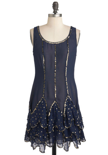 Art Deco Ball Dress - Chiffon, Sheer, Mid-length, Blue, Gold, Sequins, Party, Shift, Tank top (2 thick straps), 20s, 30s, Cocktail, Holiday Party