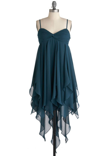 Deep Sea Siren Dress - Mid-length, Green, Solid, Ruching, Empire, Spaghetti Straps, Fall, Party, Boho, Sheer, Sweetheart, Prom