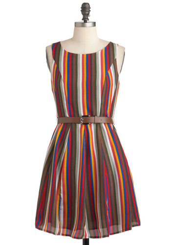 Harvest Carnival Dress - Short, Multi, Red, Yellow, Blue, Brown, Stripes, Belted, Casual, A-line, Tank top (2 thick straps), Fall, Fit & Flare