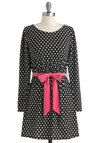Peppered in Polka Dots Dress - Black, Polka Dots, Belted, Rockabilly, A-line, Long Sleeve, Short, White, Party, Jersey
