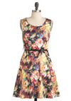 Plein Air Painting Dress - Short, Multi, Floral, Bows, Belted, Party, A-line, Sleeveless