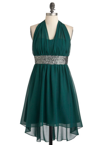 Two Short Days Dress - Green, Solid, Sequins, Special Occasion, Party, Empire, Halter, Short, Chiffon, High-Low Hem, Cocktail, Holiday Party